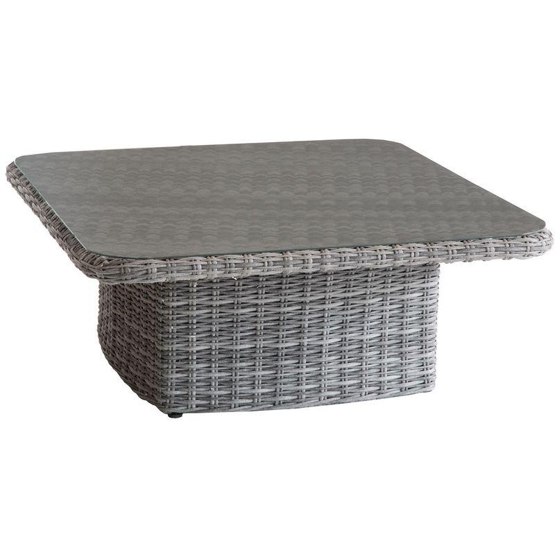 Table basse relevable de jardin en résine tressée Moorea - 110 x 110 x 45 - Gris