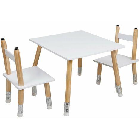 Table scandinave avec 2 chaises crayon pour enfant - Blanc