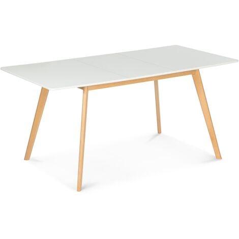 Table scandinave extensible INGA 120-160 CM blanche
