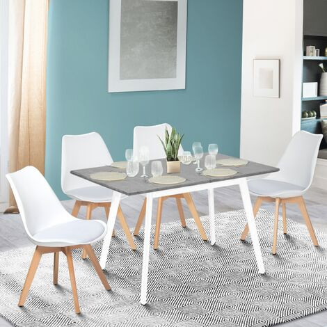 Table scandinave extensible INGA 120-160 CM plateau béton ciré pieds blancs