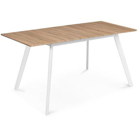 Table scandinave extensible INGA 120-160 CM plateau bois pieds blancs