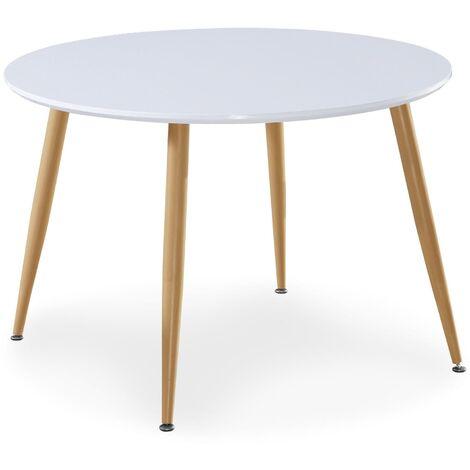 Table scandinave Nina Bois laqué Blanc - Blanc