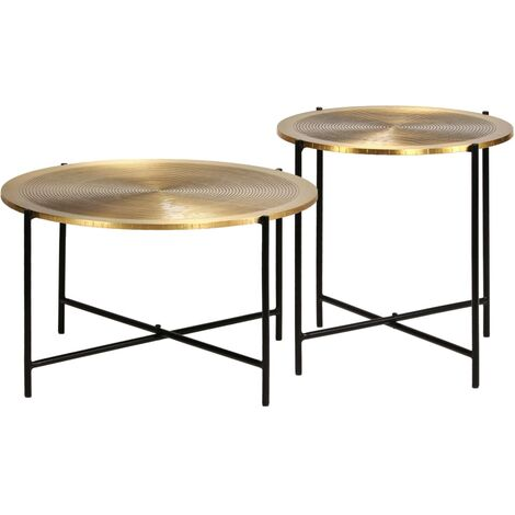 """main image of """"Table Set 2 Pieces Brass-covered MDF - Gold"""""""
