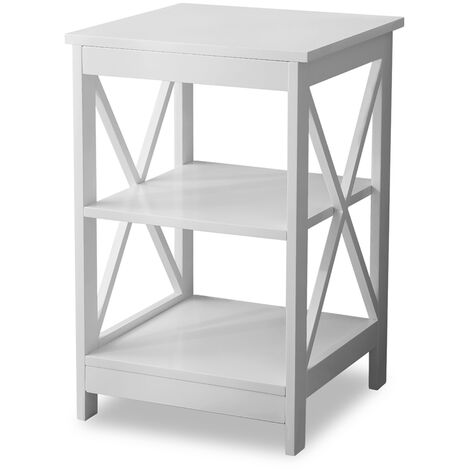 Table Side Table Sofa Side Table Storage Shelves with 3 Tiers Bedside table For Living Room Bedroom Kitchen Any Room (White) 40x40x61cm