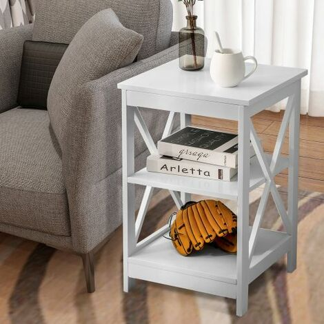 Table Side Table Sofa Side Table Storage Shelves with 3 Tiers Bedside table For Living Room Bedroom Kitchen Any Room (White)