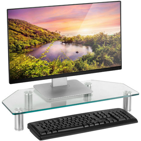 Table Support Shelf Stand Transparent Tempered Glass For Computer Screen Television