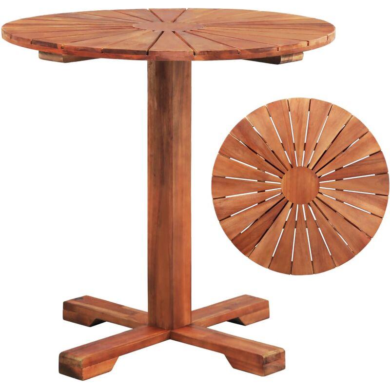 Table Sur Pied Bois D'Acacia Massif 70 X 70 Cm Rond