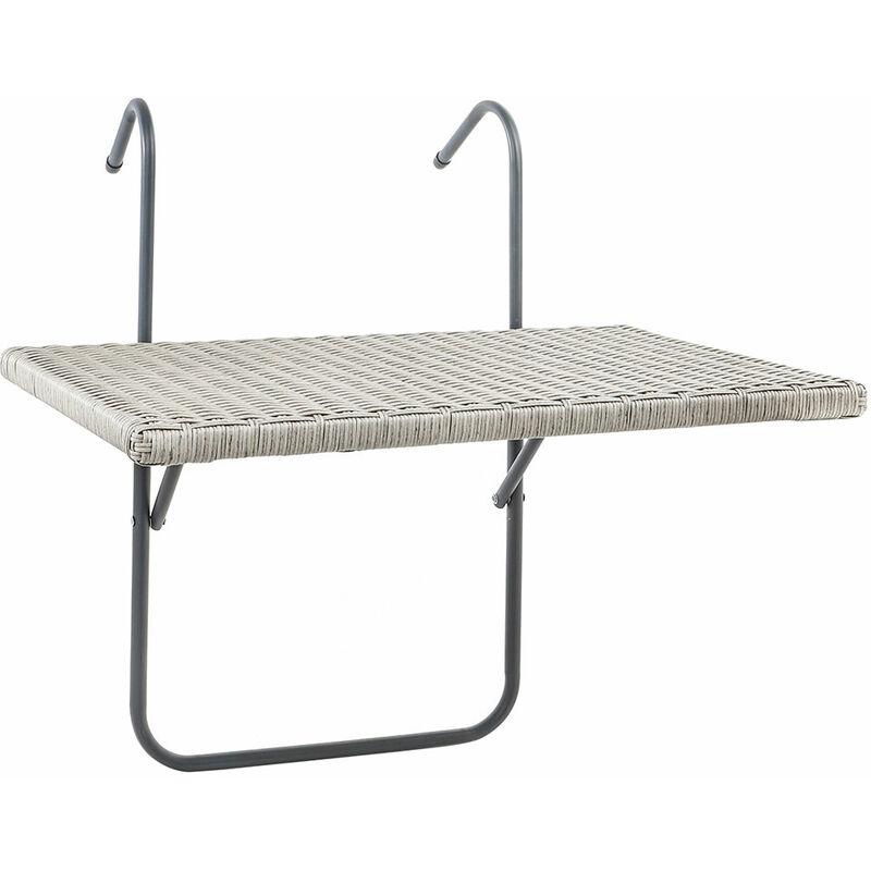 Table suspendue de balcon aspect rotin environ 60x40 cm table suspendue en osier et rangement pour balcon de jardin gris acier