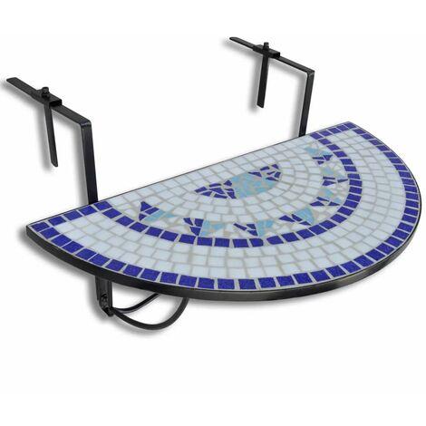 Table suspendue de balcon Bleu et blanc Mosaïque