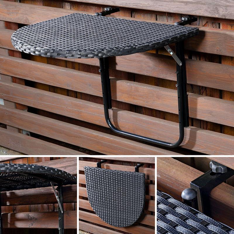Table Suspendue Pliante Table De Balcon Table En Rotin Polyrattan
