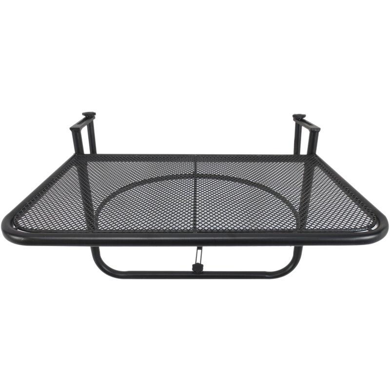 Table suspendue pour balcon dim. 60L x 56,5l cm hauteur réglable 3 niveaux métal époxy noir