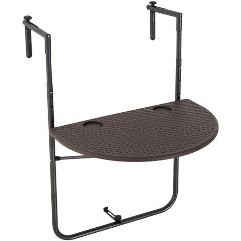 Table suspendue pour balcon pliable dim. 60L x 39l cm hauteur réglable 73-83H cm HDPE imitation rotin chocolat