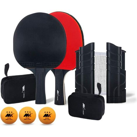 Table Tennis Set, Ping Pong Ball Set, Outstanding Attack and Defense Control, Consists of 1 Net, 2 Rackets, 3 Table Tennis and 2 Storage Bags