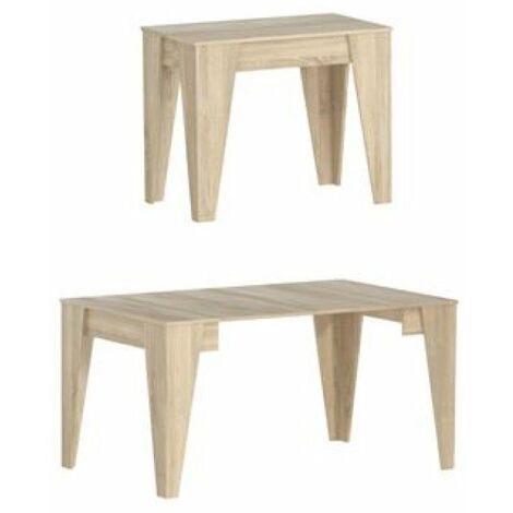 Table TM extensible avec rallonges jusqu'à 146 cm, couleur chêne, 90x53.6x74cm.