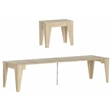 Table TM extensible avec rallonges jusqu'à 305cm, couleur chêne, 90x53.6x74.6cm