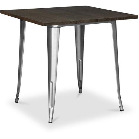 Table Tolix Pauchard Style - 80cm - Métal et Bois Noir