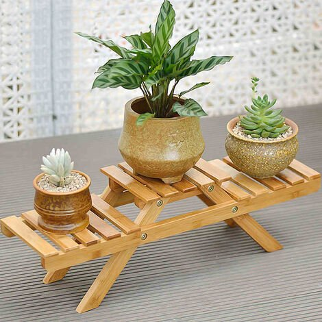 Table Top Bamboo Plant Stand 3 Tiered Potted Flowers Shelf Rack Brown
