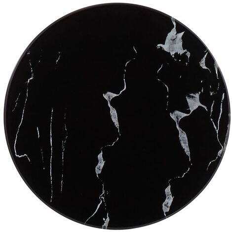 Table Top Black 30 cm Glass with Marble Texture