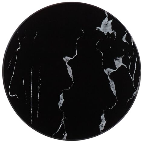 Table Top Black Ø30 cm Glass with Marble Texture