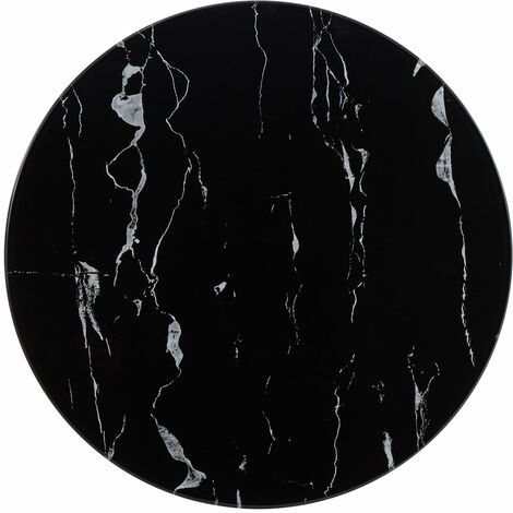 Table Top Black 50 cm Glass with Marble Texture