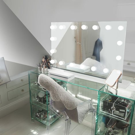 Table Top Hollywood Makeup Mirror with Warm White Dimmable LED k413sWW