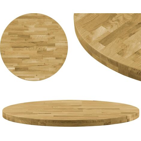 Table Top Solid Oak Wood Round 44 mm 600 mm - Brown