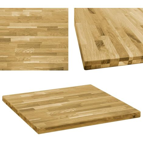 Table Top Solid Oak Wood Square 44 mm 70x70 cm