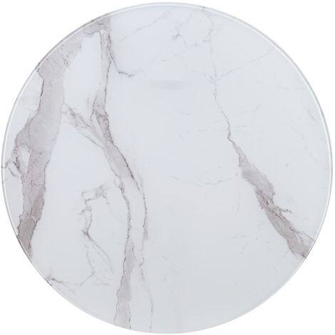 Table Top White Ø80 cm Glass with Marble Texture