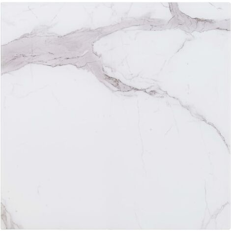 Table Top White Square 80x80 cm Glass with Marble Texture