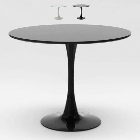 Table Tulip ronde noire et blanche pour bar et salon maison 80x80 cm