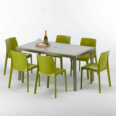 MARION Set Made of a 150x90cm Beige Rectangular Table and 6 Colourful Chairs | Rome Green Anise