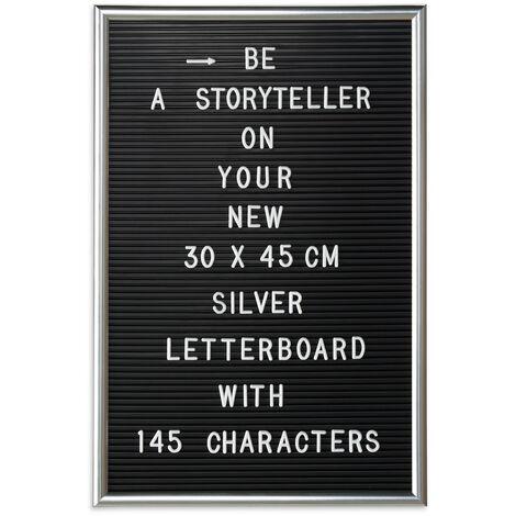 Tableau à lettres avec cadre en bois, lettres, chiffres, Tableau à rainures XL 30x45cm, argenté, à planter