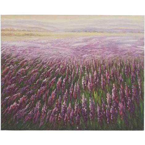 Tableau à l'huile, champ de fleurs, peint à la main à 100%, toile de décoration murale XL ~ 100x80cm