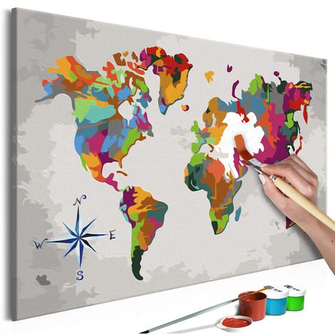 tableau peindre par soi m me carte du monde avec rose. Black Bedroom Furniture Sets. Home Design Ideas
