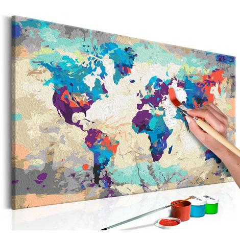tableau peindre par soi m me carte du monde bleu rouge. Black Bedroom Furniture Sets. Home Design Ideas