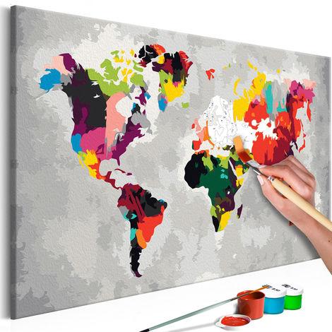 Tableau à Peindre Par Soi Même Carte Du Monde Couleurs Criardes 60 X 40 Cm Pegane