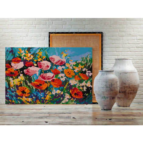 Tableau à peindre par soi-même - Fleurs de champs colorées 60x40