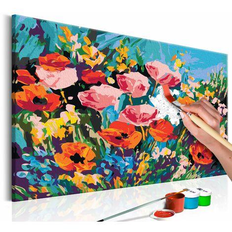Tableau à peindre soi-même peinture par numéros motif Fleurs de champs colorées 60x40 cm - or