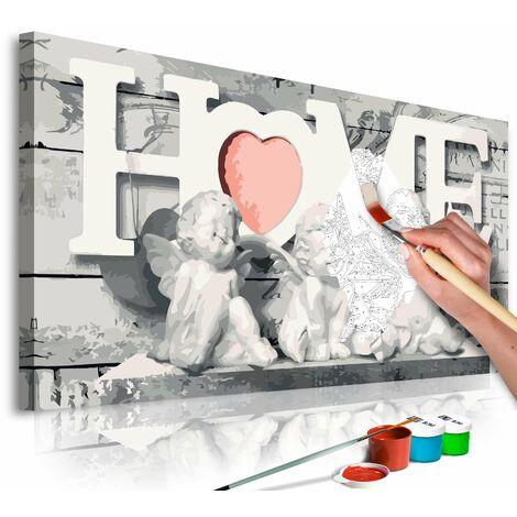 Tableau à peindre soi-même peinture par numéros motif Maison Anges 80x40 cm - noir