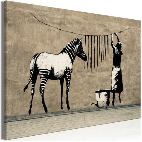 Tableau - Banksy: Washing Zebra on Concrete (1 Part) Wide 120x80