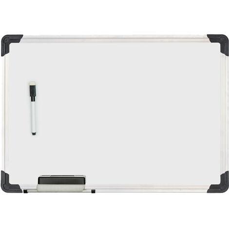 Tableau blanc, avec éponge et marqueur, magnétique, meetings, workshops, bureau, 35 x 50 cm, blanc