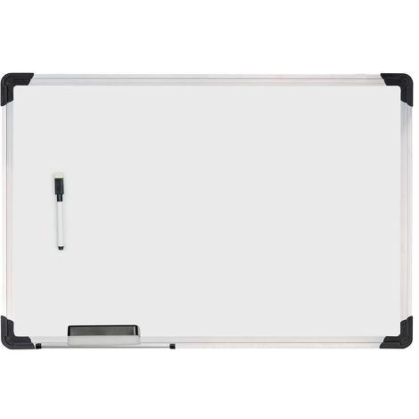 Tableau blanc, avec éponge et marqueur, magnétique, meetings, workshops, bureau, 40 x 60 cm, blanc