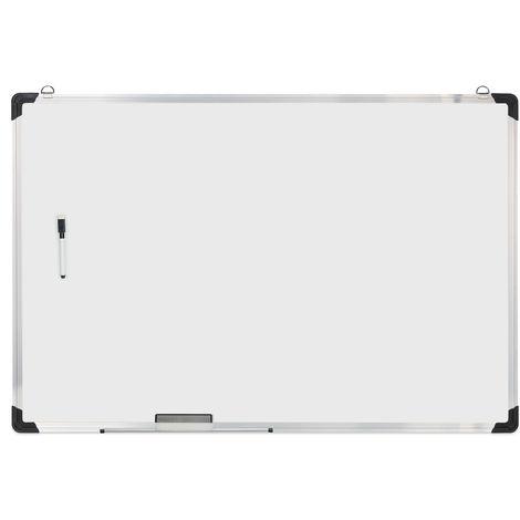 Tableau blanc, avec éponge et marqueur, magnétique, meetings, workshops, bureau, 60 x 90 cm, blanc