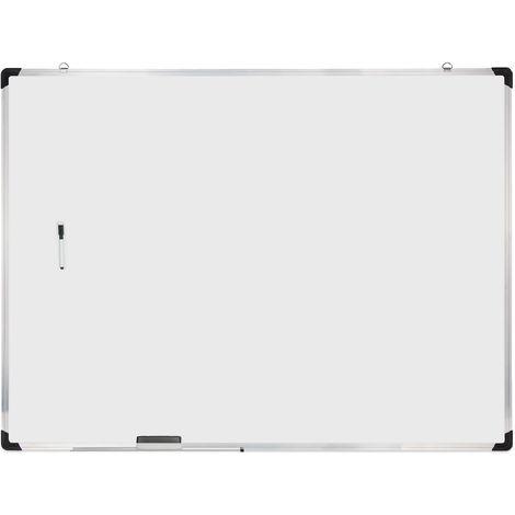 Tableau blanc, avec éponge et marqueur, magnétique, meetings, workshops, bureau, 90 x 120 cm, blanc