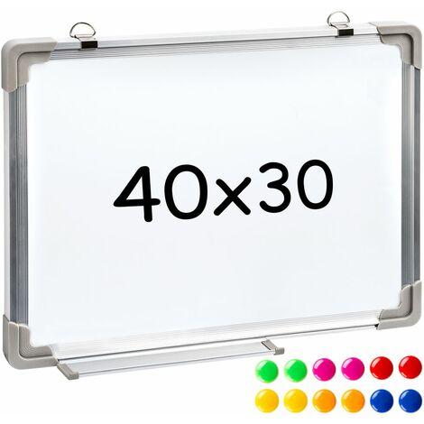 Tableau blanc bureau avec 12 aimants 40 x 30 x 2 cm
