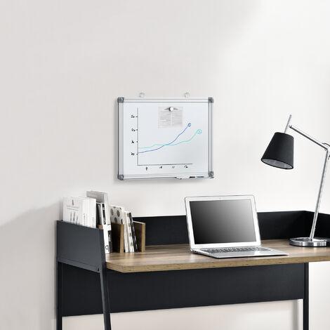 Tableau Blanc Magnétique avec Porte-marqueurs Aluminium et Métal Blanc 45 x 35 cm