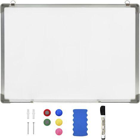 Tableau blanc magnétique effaçable à sec Blanc 70x50 cm Acier