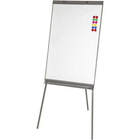 Tableau Blanc Magnétique Effaçable sur Pied Réglable en hauteur 65 cm x 95 cm + 12 Aimants