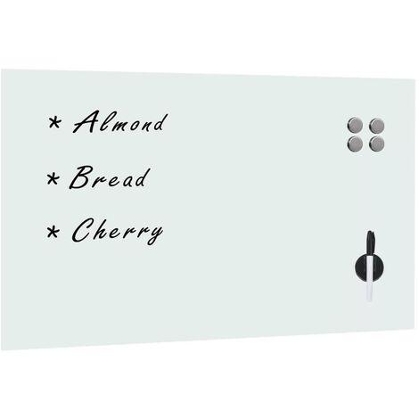 Tableau blanc magnétique mural en verre 100 x 60 cm