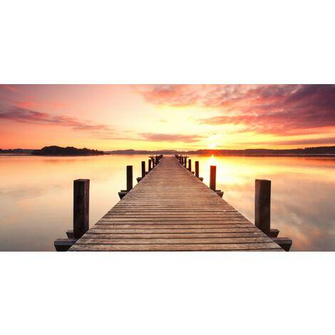 Tableau bridge and Sunset - Nature et paysages - pour Salon, Chambre -Multicolore en Bois, coton, 70 x 140 x 3 cm